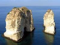 The Pigeon Rocks in Beirut.